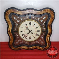 """Mother of Pearl Inlaid Wall Clock (18""""x18"""") Chimes Nicely!"""