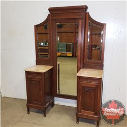 Marble Top Double Pedestal Wing Mirror (Bevelled) (Frame has warp one side at pedestal slide in)