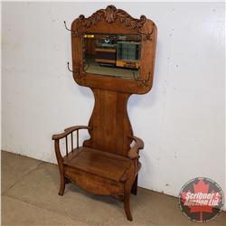 """Oak Hall Seat w/Storage (74-1/2""""H) Bevelled Mirror"""