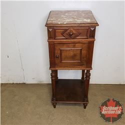 """Marble Top Side Table w/Marble Inside (36""""H x 15""""W x 15""""D)"""