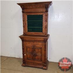 "Carved Wooden/Oak Curio Cabinet (2 Piece) (75""H x 34""W x 18""D)"