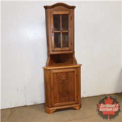 """Corner Curio Cabinet w/Key (2 Piece) Total Height 80"""" x 17"""" D x 30""""W"""