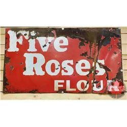 """Enamel Sign : Five Roses Flour (34"""" x 60"""")"""