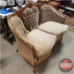 """Tufted Victorian Style Love Seat (59"""" L x 36"""" H) (Rips/Stains)"""