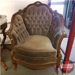 """Tufted Victorian Style Chair (32"""" L x 32"""" H) (Stains)"""