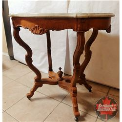 Oak & Marble Tope Parlour Table
