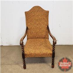 "Living Room Arm Chair - Barley Twist Front Legs (39"" H)"