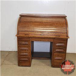 "Oak Roll Top Desk - Finished Back (45""H x 44""W x 30""D)"