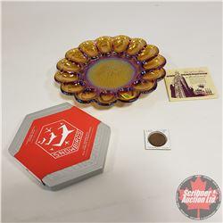 Iridized Devil Egg Service Platter & Canadian Snow Birds Stamp & Coin Set & QEII Coronation Viewmast