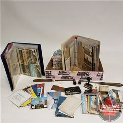 Tray Lot: Vintage Postcard Collection & Canada Post Cancel Stamps (Bodo & Hardisty) & Tea Caddy, etc