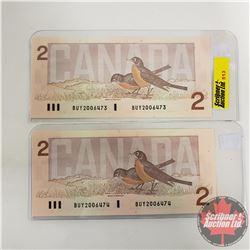 Canada $2 Bills 1986 - Sequential S/N#BUY2006473/74 (Thiessen/Crow)
