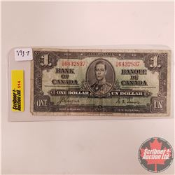 Canada $1 Bill 1937 S/N#S/M6432837 (Coyne/Towers)