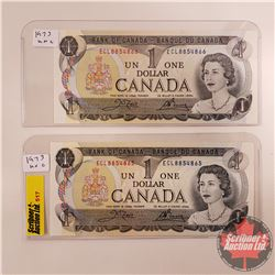 Canada $1 Bills 1973 - Sequential S/N#ECL8854865/66 (Crow/Bouey)