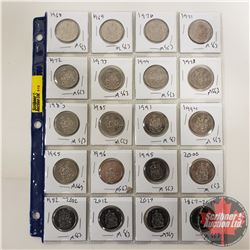 Canada Fifty Cent - Sheet of 20: 1968-1974; 1978; 1983; 1985; 1991; 1994; 1995; 1995; 1996; 2000; 20