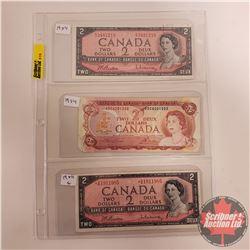 Canada $2 Bills (3): 1954 S/N#EU3481210 (Beattie/Rasminsky) ; 1954 S/N#BB1911985 (Beattie/Rasminsky)