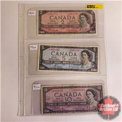 Canada 1954 Bills - Sheet of 3: $2 Bill S/N#FR9481776 (Beattie/Rasminsky); $5 Bill S/N#UX2371737 (Bo