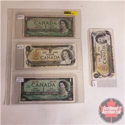 Canada $1 Bills - Sheet of 4: 1954 Replacement S/N#*BM2283477 (Beattie/Rasminsky); 1967 No S/N# Cent