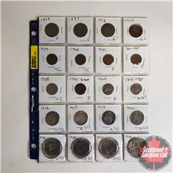 Canada Coins - Sheet of 20:  One Cent 1858; 1899; 1916; 1919; 1934; 1940; 1951; 1967  Five Cent 1929