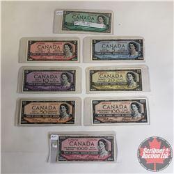 CANADA 1954 BILLS SERIES (8 Bills): $1 S/N#NF9496148 (Bouey/Rasminsky); $2 S/N#HG9398289 (Bouey/Rasm