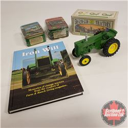 John Deere Tray Lot: JD Model M (1/16 Scale); Harvest Heritage Metal Collector Cards (2 Sets); Colle