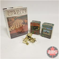 "John Deere Tray Lot: Harvest Heritage Metal Collector Cards (2 Sets); Trophy Topper & Book ""John Dee"