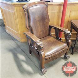 Antique Morris Arm Chair Recliner - Lions Paw & Face