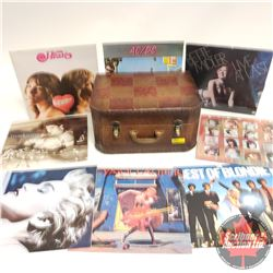 Suitcase/Chest Padded Top w/8 Record Albums (Blondie, Cyndi Lauper, Madonna, Bangles, Heart, Bette M