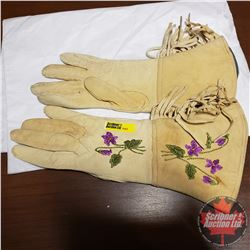 Handmade Embroidered Pair of North American Native Gauntlet Gloves