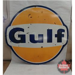 Porcelain Gulf Sign (Double Sided) 6'