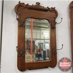"Oak Framed Entry Mirror / Hat Rack (40""H x 27""W)"