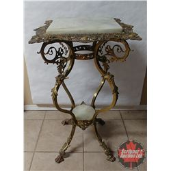 Brass & Marble Top Lamp Table - Ornate