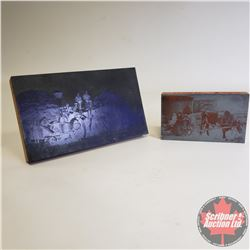 2 Metal Photograph Plates (Threshing Crew & Pioneer Family with Ox Cart)