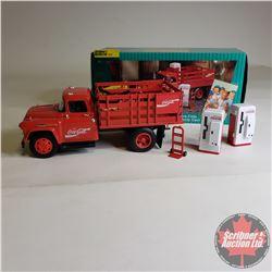 Coca Cola Die-Cast Metal Stake Truck w/Vending Machines & Dolly Cart