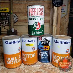 Group of 5 Motor Oil Quarts (Gulf, Gulf, Gulf, B/A & Imperial)