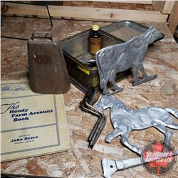 Cough Gum Tin w/Contents (Weathervane Horse & Cow, Gramophone Cranks, Brass Trim, Farm Account Book,
