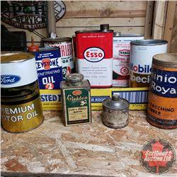 Tray Lot: Variety Petroliana Tins (Esso, B/A, Texaco, Keystone, Ford, etc)
