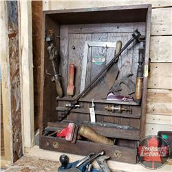 Stanley Tool Cabinet w/Assortment of Vintage Tools & Farm Workshop Guide