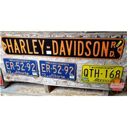 Harley Davidson Road Sign & 3 License Plates