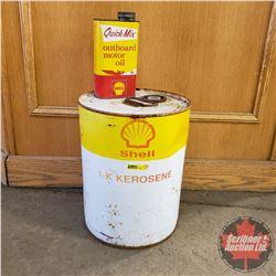 Shell Kerosene Pail & Shell Outboard Motor Oil Tin