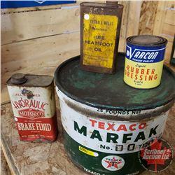 Combo: Texaco Grease Pail & Varcon Dressing Tin & Marshall Wells Neats Foot Oil Tin & GM Brake Fluid