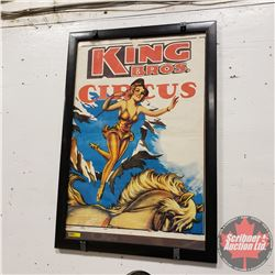 """Framed """"King Bros. Circus"""" Poster 1965 (32"""" x 22"""")"""