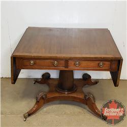 "Drop Leaf Pedestal Table w/2 Drawers (29""H x 59""W x 29""D)"