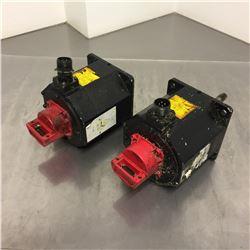 (2) Fanuc A06B-0034-B075 AC Servo Motor *ONE HAS BROKEN PLUG SEE PICS FOR DETAILS*