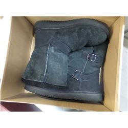 NEW WOMENS SZ 7 KIRKLANDS SHEARLING BUCKLE BOOT BLACK