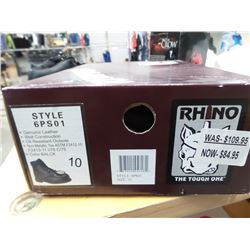 NEW RHINO BLACK STEEL TOE WORK BOOTS SZ 10
