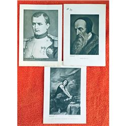 Vintage c1920's half-tone print by Perry Pictures, Notable Figures of History-6 Group of 3 Frenchm