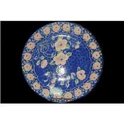 "Large Round Oriental Charger / Platter / Plate 12"" Pink flowers on Blue"