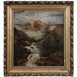 Fabulous Western Landscape oil with original frame and signed by the artist.