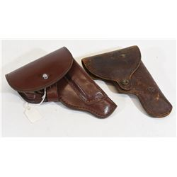 Two Brown Leather Holsters