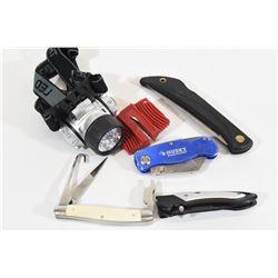 Knives, Sharpener & LED Light